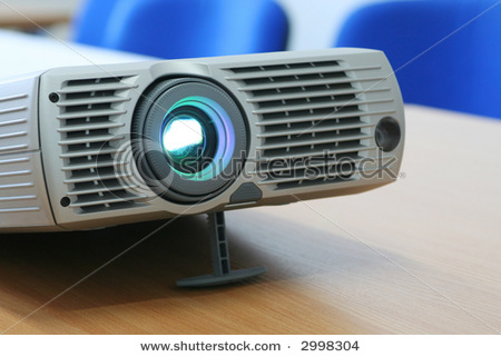 stock photo projector at office table